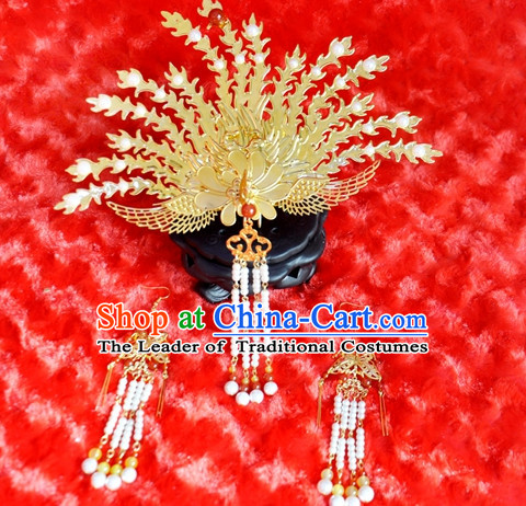Chinese Traditional Ancient Phoenix Hair Sticks Hair Ornaments Chopsticks Gold Hair Pins Hairsticks Oriental Asian Head Jewellery Hair Clips Hair pIeces Hair Style