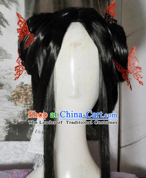 Ancient Chinese Imperial Royal Princess Long Black Wigs and Hair Jewelry