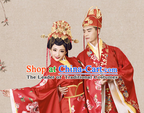 Ancient Chinese Bridal Wedding Garment and Headpieces Complete Set for Brides and Bridegrooms