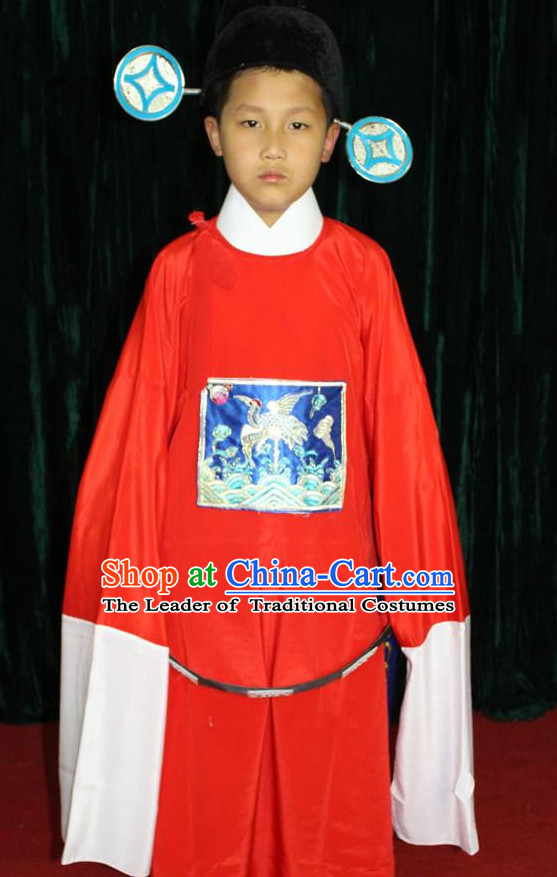 Chinese Opera Official Costume and Hat Complete Set for Children Boys