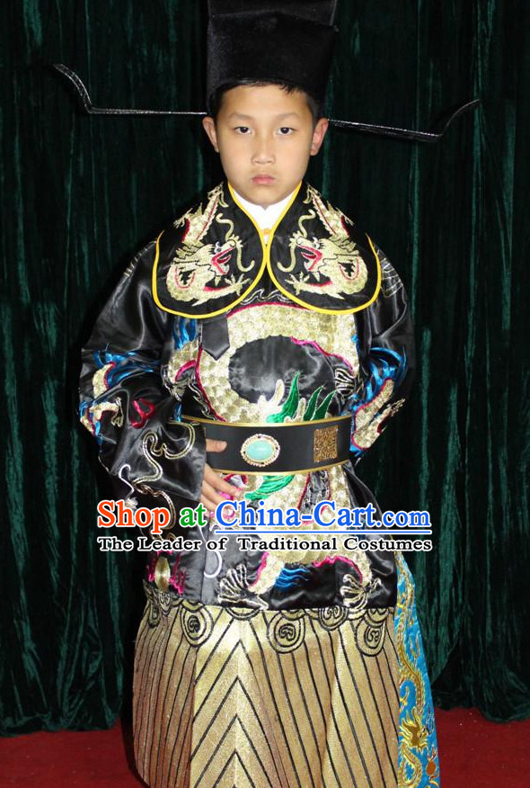 Chinese Opera Bao Gong Judge Official Dragon Embroidery Costume and Hat Complete Set for Children Boys