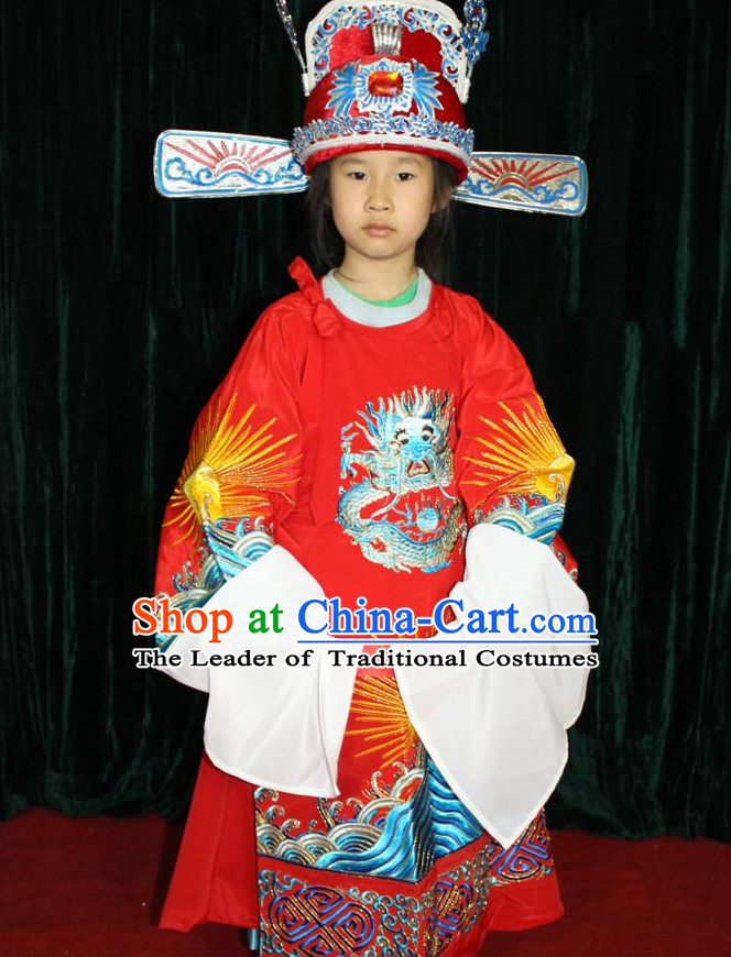 Chinese Opera Official Bridegroom Dragon Embroidery Costumes and Hat Complete Set for Children Boys