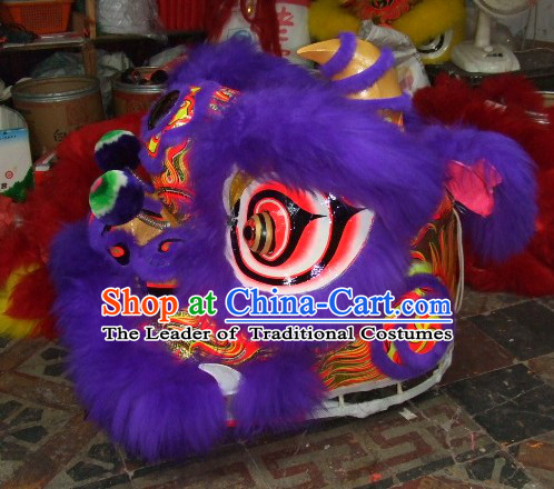 Top Purple Chinese Classic 100% Natural Long Wool Fut San Style Lion Dance Costumes Complete Set