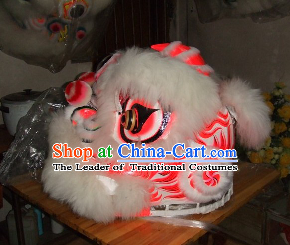 Top Chinese 100% Natural Long Wool Fut San Lion Dancing Costumes Complete Set