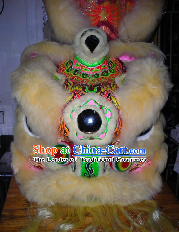 Top Beige Chinese Traditional 100_ Natural Long Wool Futsan Style Lion Dancing Uniform Complete Set