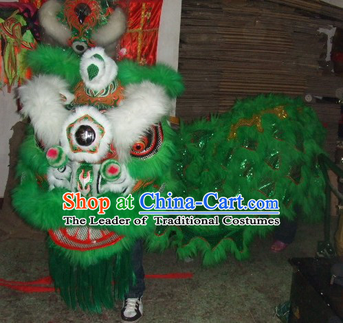 Top Green White Eyebrow Chinese Traditional 100_ Natural Long Futsan Style Lion Dance Costumes Complete Set