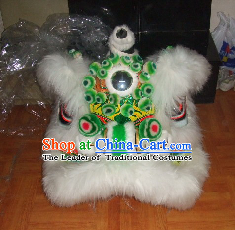 Top White More Balls 100% Natural Long Wool Chinese Traditional Futsan Style Lion Dancing Uniforms Complete Set
