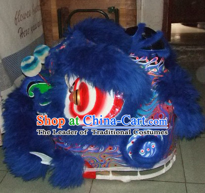 Top Deep Blue 100_ Natural Long Wool Chinese Traditional Futsan Style Lion Dancing Uniforms Complete Set