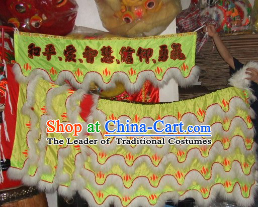 Chinese Traditional 100% Natural Long Wool Lion Dance Body Costume Pants Claws Set