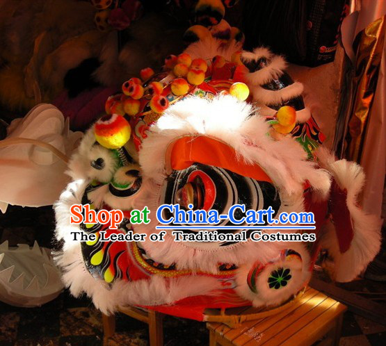 Top White Ancient Chinese Traditional Futsan Style Lion Dance Costumes Complete Set