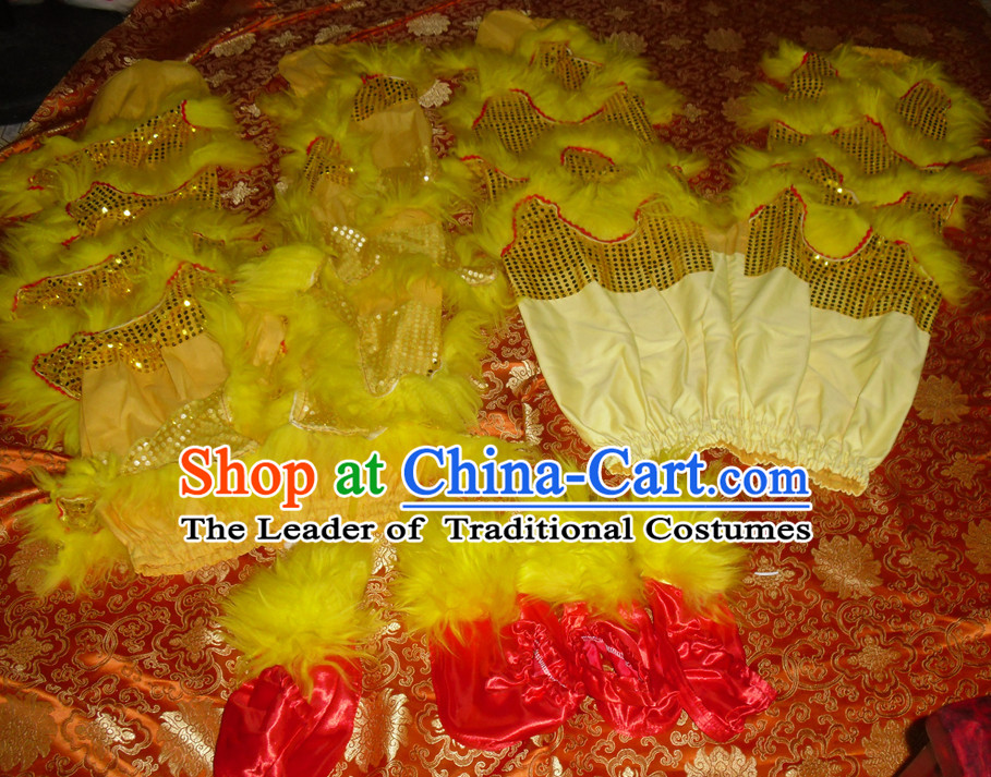Yellow Top Asian Chinese Lion Dance Troupe Performance Suppliers Pants and Claws