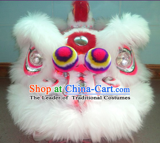 Top White Long Wool Ancient Chinese Traditional Lion Dance Costumes Complete Set