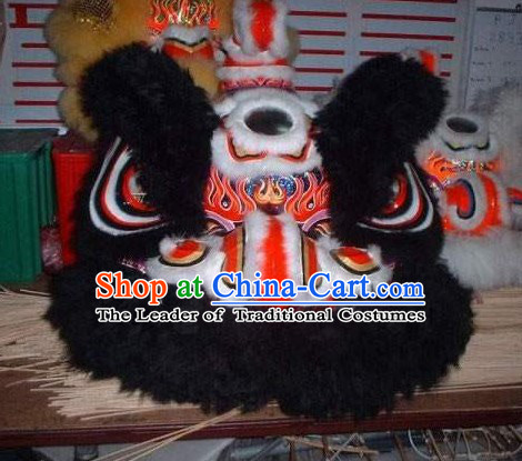 Supreme Black Long Wool Ancient Chinese Traditional Lion Dance Costumes Complete Set