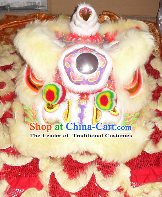 Light Yellow Top Asian Chinese Lion Dance Troupe Performance Suppliers Pants Equipments Art Instruments Lion Tail Costumes Complete Set for Men