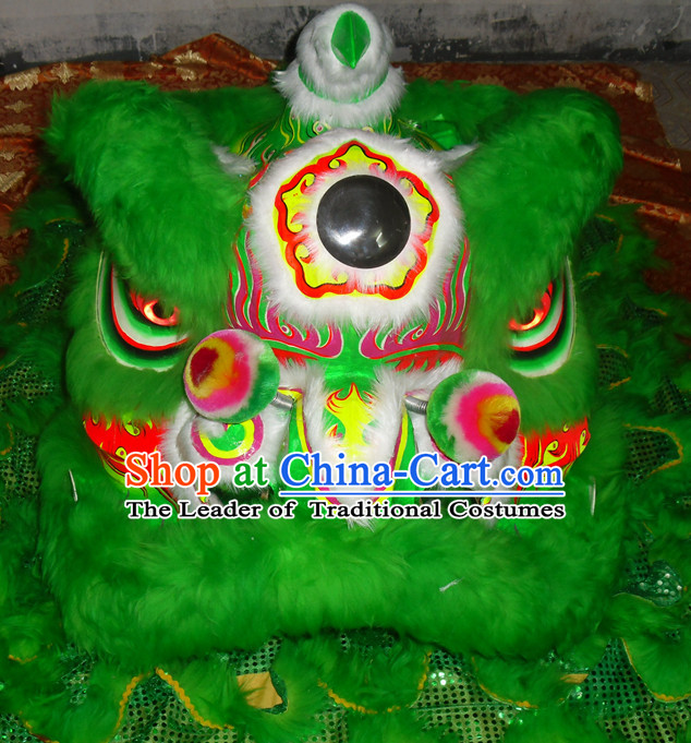 Green Top Asian Chinese Lion Dance Troupe Performance Suppliers Pants Equipments Art Instruments Lion Tail Costumes Complete Set for Men