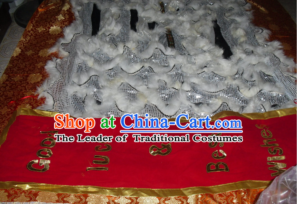 White Wool Top Asian Chinese Lion Dance Troupe Performance Suppliers Pants Equipments Art Instruments Lion Tail Costumes