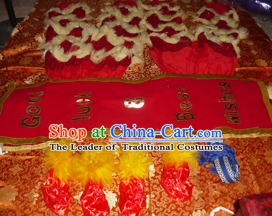 Red Wool Top Asian Chinese Lion Dance Troupe Performance Suppliers 2 Pairs of Pants and Claws