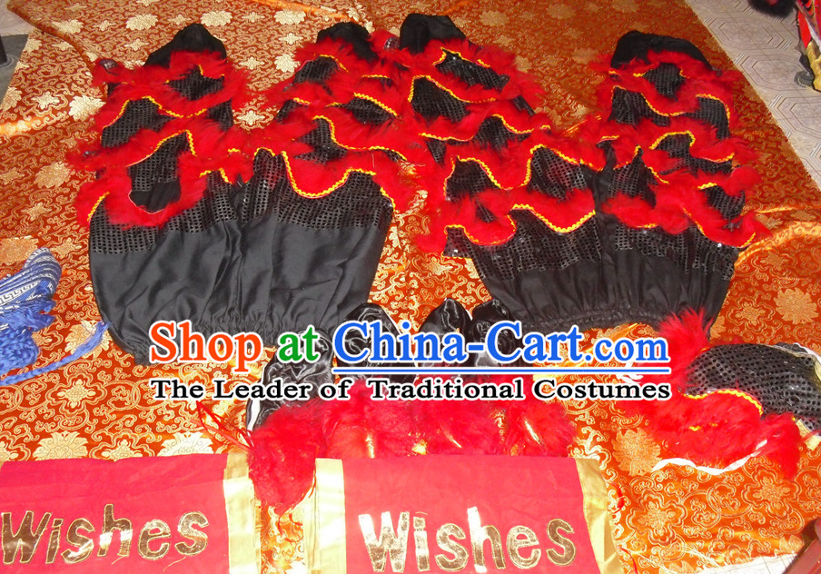 Black Wool Top Asian Chinese Lion Dance Troupe Performance Suppliers 2 Pairs of Pants and Claws