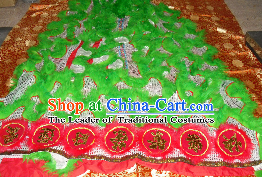 Grass Green Top Asian Chinese Lion Dance Troupe Performance Suppliers Pants Equipments Art Instruments Lion Tail Costumes Set