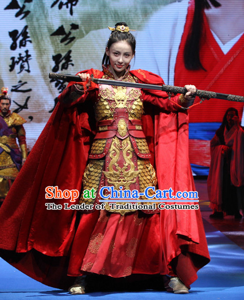 Ancient Chinese Princess Imperial Palace Fighting Armor Costumes Garments and Crown Complete Set for Women or Girls