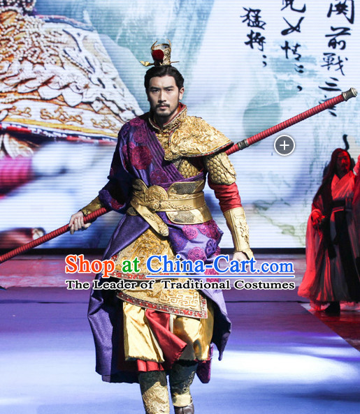 Ancient Chinese Emperor Body Armor Costumes Hanfu Dresses Complete Set for Men