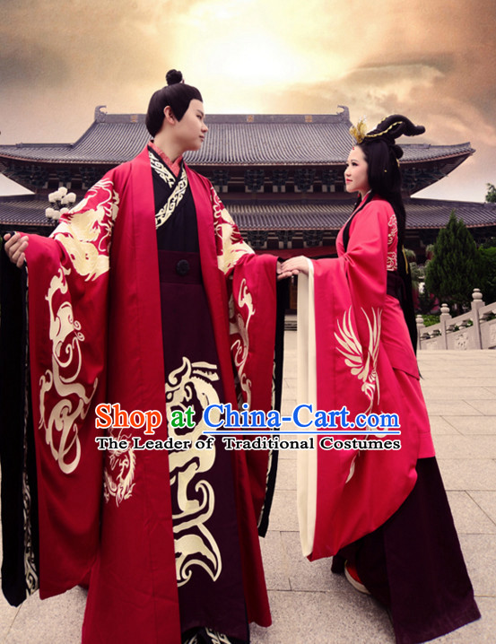 Ancient Chinese Clothing Dress Garment and Hair Accessories Complete Set for Men and Women