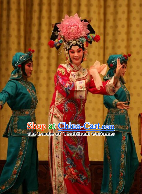 Chinese Beijing Opera Empress Costume and Hair Accessories Complete Set for Women