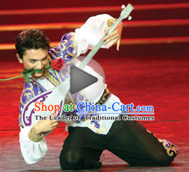 Chinese Xinjiang Dancing Outfits Dancewear Costumes Dancer Costumes Dance Costumes Chinese Dance Clothes Traditional Chinese Clothes Complete Set for Men