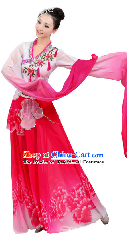 Chinese Traditional Stage Water Sleeve Dance Dancewear Costumes Dancer Costumes Dance Costumes Clothes and Headdress Complete Set for Children