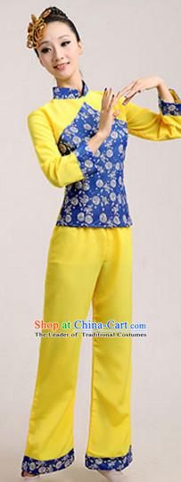 Chinese Traditional Stage Farmer Dance Dancewear Costumes Dancer Costumes Dance Costumes Clothes and Headdress Complete Set for Children