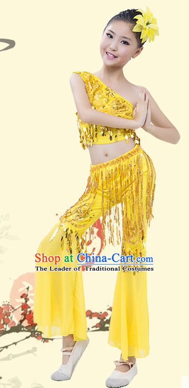 Yellow Chinese Traditional Stage Dai Minority Ethnic Peacock Dance Dancewear Costumes Dancer Costumes Dance Costumes Clothes and Headdress Complete Set for Girls Kids