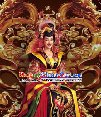 Tang Dynasty Chinese Traditional Ancient Empress Costumes Garment and Hair Jewelry Complete Set for Women Girls