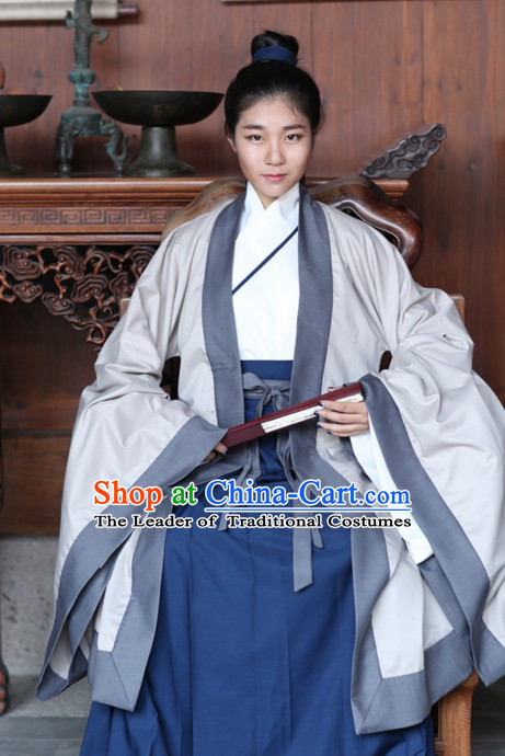 Traditional Asian Chinese Taoist Clothing Garment Han Fu Clothes Complete Set for Men or Women