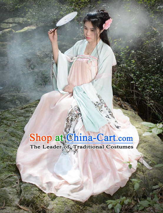 Traditional Asian Chinese Tang Dynasty Beauty Han Clothing Garment Hanfu Clothes Complete Set