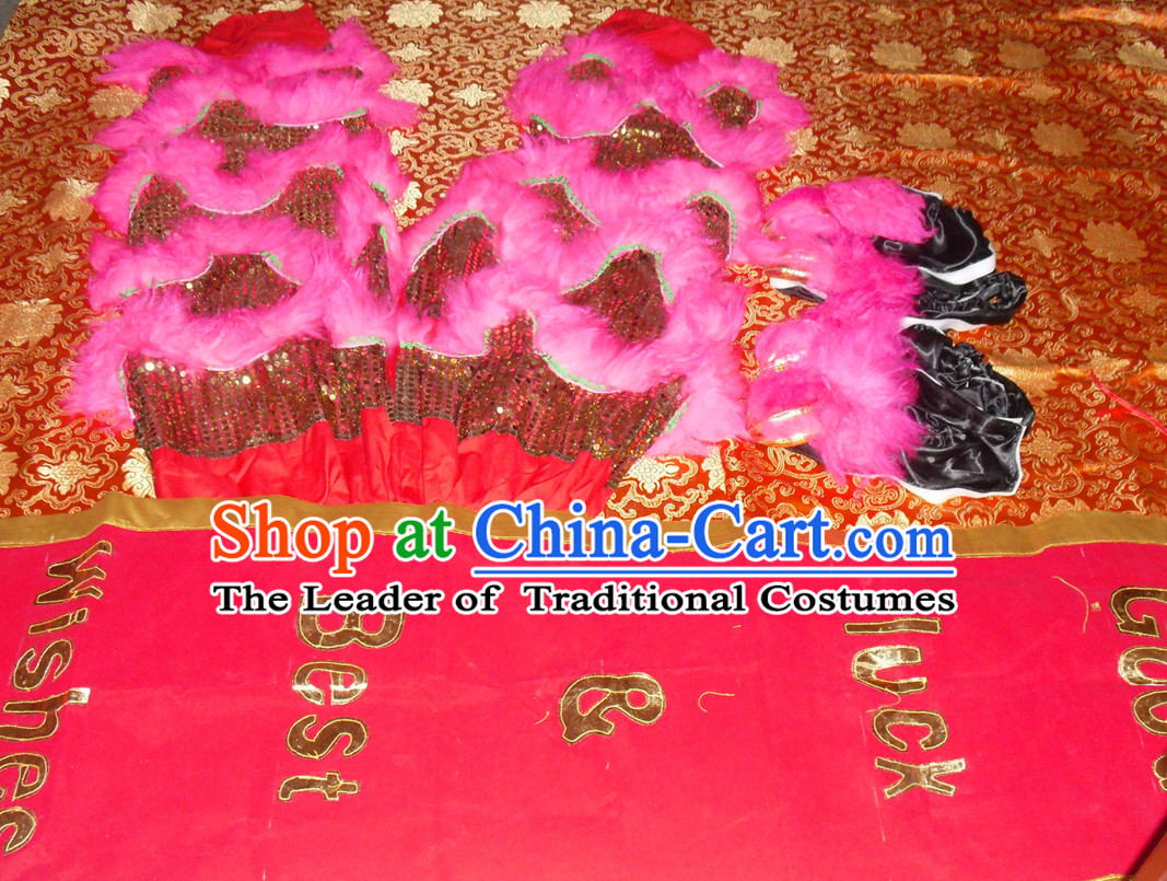 Top Asian Chinese Troupe Performance 2 Pairs of Lion Dance Pants and Claws