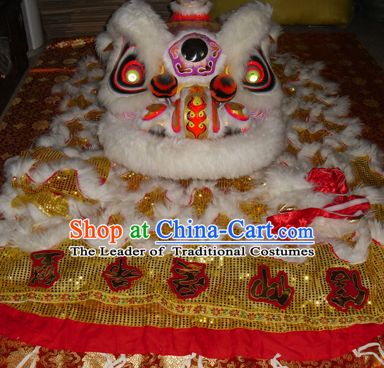 Top Gold Color White Wool Competition and Parade Hok San Lion Dancing Instruments Complete Set