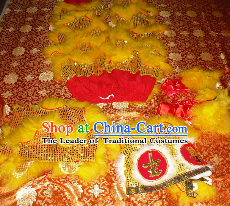 Red Color Yellow Wool Top Asian Chinese Troupe Performance 2 Pairs of Lion Dance Pants and Claws
