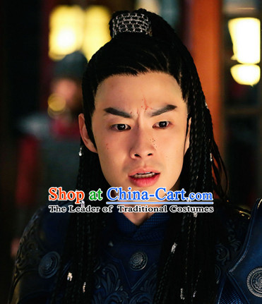 Ancient Chinese Style Superhero Swordsman Long Black Wigs for Men