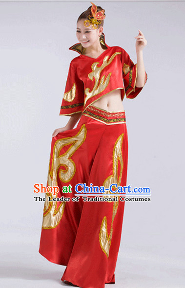 Red Chinese Folk Fan Dancewear and Headdress Complete Set for Women