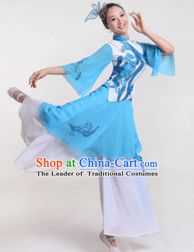 Blue Chinese Folk Fan Dancewear and Headdress Complete Set for Women