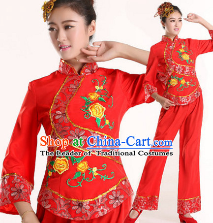 Chinese New Year Fan Dance Costumes and Headdress Complete Set for Women