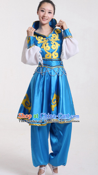 High Collar Blue Chinese Folk Fan Dancing Costumes Complete Set for Women
