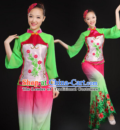 Chinese Folk Dance Costumes Dancing Outfits and Hair Decorations Complete Set for Women or Girls