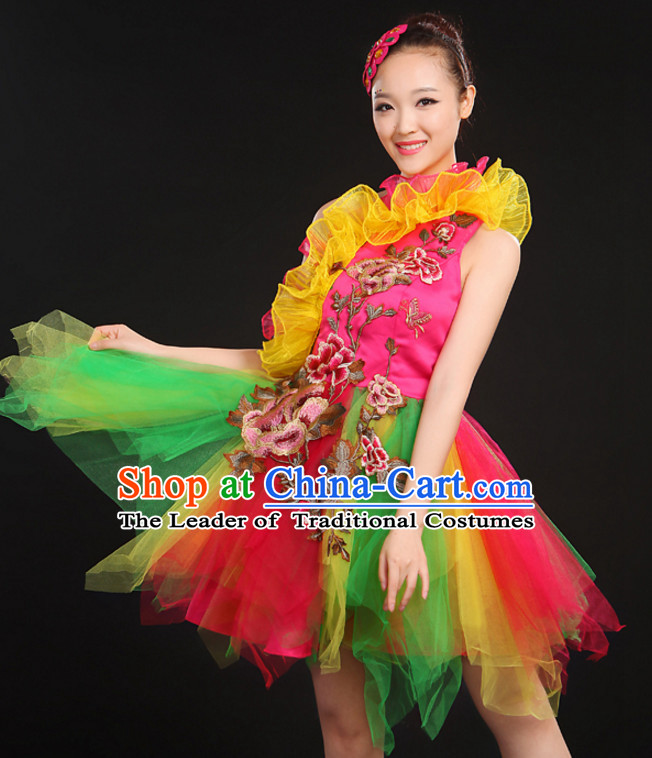 Chinese Dance Costumes Dancewear and Hair Decorations Complete Set for Women or Girls