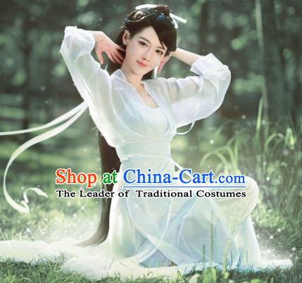 Chinese Ancient Beauty White Costumes and Headdress Complete Set for Women or Girls