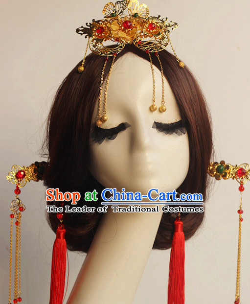 Top Chinese Traditional Wedding Bridal Crown Headpieces Hair Jewelry Bridal Hair Clasp Hairpins Set