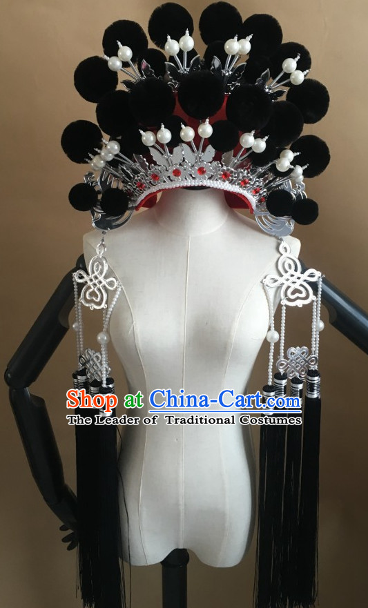 Black Chinese Traditional Phoenix Coronet Opera Hat