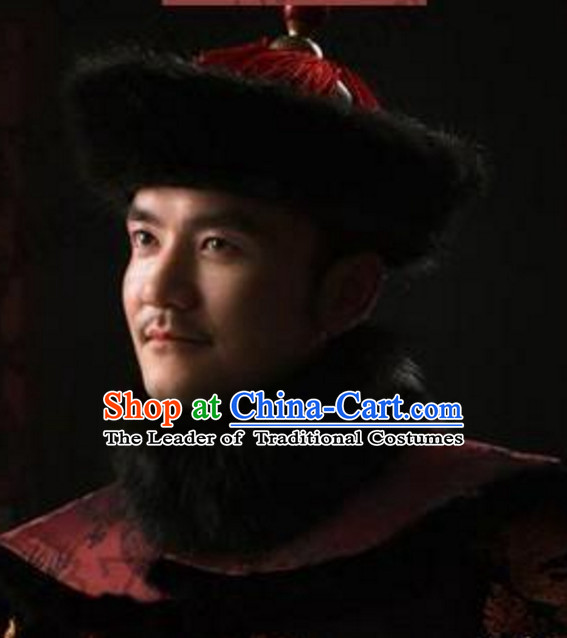Black Chinese Traditional Qing Dynasty Official Fur Hat for Men