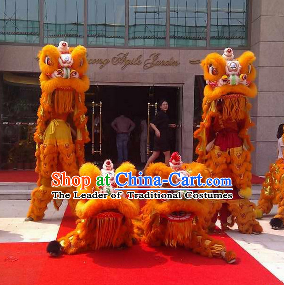 Orange Color Supreme 100_ Natural Wool Chinese Southern Lion Dance Equipments Complete Set
