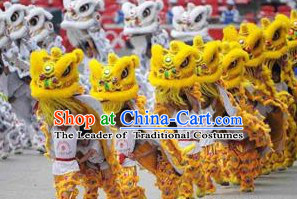 Yellow 2008 Beijing Olympic Games Opening Ceremony 100% Natural Long Wool Lion Dance Equipments Complete Set